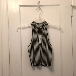 Nordstrom Black and white striped crop top NWT